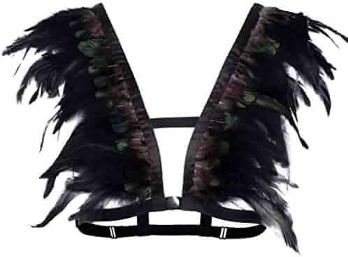 afac3a0a73f7f BANSSGOTH Feathers Harness Strappy Bra Shoulder Wing Punk Goth Festival  Burning Man