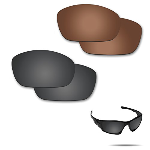 Fiskr Anti-saltwater Polarized Replacement Lenses for Oakley Ten X Sunglasses 2 Pairs Packed (Stealth Black & Bronze Brown) (Sunglasses Replacement Lenses Bronze Mirror)