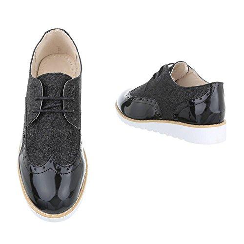 c42f1fd37abc4d ... King Of Shoes Damen Halbschuhe Brogues Schnürer Dandy Lack Plateauschuhe  Keilabsatz Metallic 036 Schwarz