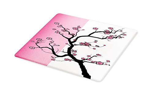 - Lunarable Japanese Cutting Board, Sakura Tree Japanese Cherry Blossom Drawing Design Contrasting Colors Print, Decorative Tempered Glass Cutting and Serving Board, Large Size, Pink Black White
