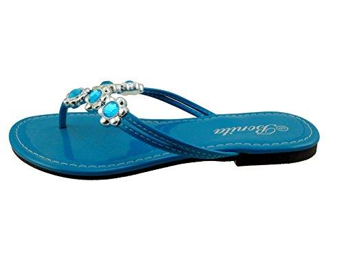 Sandales Plates Tongs Femme Bonita Tongs V-07 Turquoise