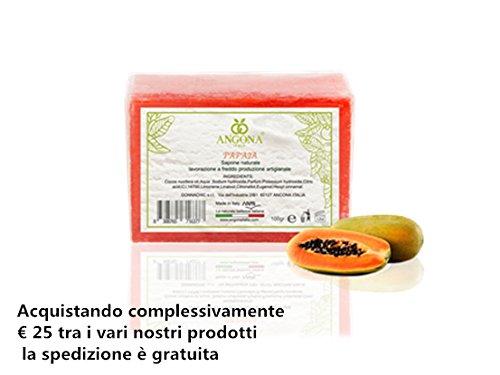 ANGONA Sapone 100% Naturale Papaia 100g -Idratante e Controllando la melanina adatto a tutti di pelle- Prodotto Italiano lavorazione artigianale a temperatura bassa DONNA CHIC s.r.l