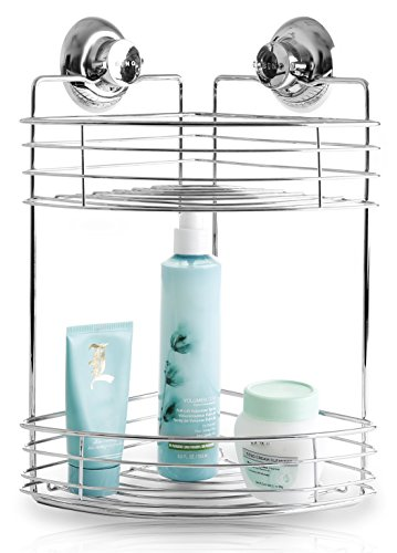 bino-smartsuction-rust-proof-stainless-steel-shower-caddy-2-tier-corner-shelf