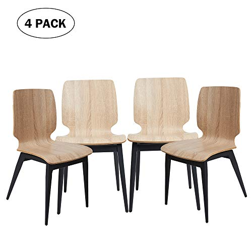 (4 Pack Kitchen Dining Chairs with Bentwood Seat and Metal Legs, Indoor Outdoor Side Chair for Cafe, Bistro and Restaurant, Ergonomic Design, Natural)