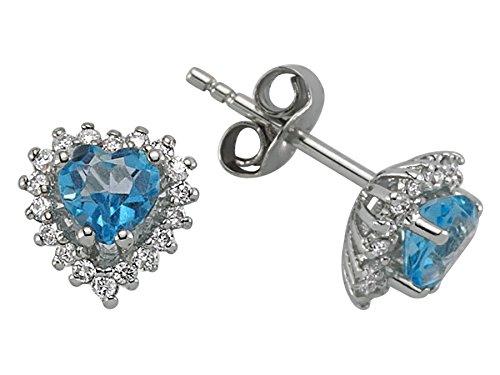 Boucles d'Oreilles Topaze Bleue Coeur et Diamants-Femme- or Blanc 215E0030