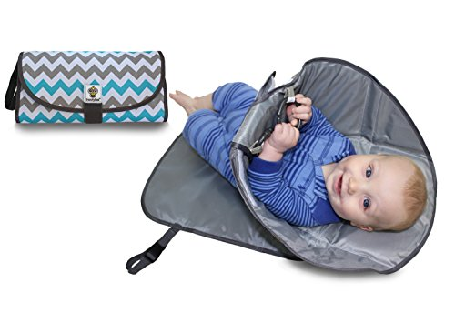 SnoofyBee Portable Clean Hands Changing Pad. 3-in-1 Diaper Clutch, Changing Station, and Diaper-Time Playmat With Redirection Barrier for Use With Infants, Babies and Toddlers (Chevron)