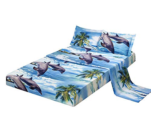 - 4 Piece Set Luxury 3d Print Vivid Animals Pattern Bed Sheet Set,Dancing Dolphin in the Blue Ocean Bay and Palm Tree Island (1 Flat Sheet,1 Fitted Sheet,2 Pillow shams) (King, Dolphin Coconut Tree)