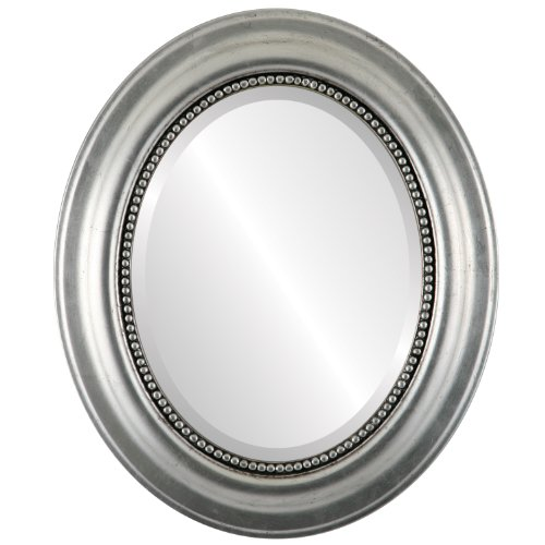 Oval Wall Mirror for Home Decor, Bedroom, Living Room, Bathroom | Decorative Framed Beveled Mirror | Heritage Style - Silver Leaf with Black Antique - 21x25 Inch Outside -
