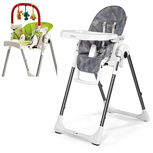 Peg Perego Prima Pappa Zero 3 High Chair, Denim with Play Bar Bundle (Peg Perego Prima Pappa Best High Chair)