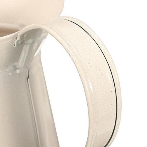 Lets dream with White Vintage Shabby Vase Enamel Pitcher Chic Cream Jug Pot Tall Metal Wedding Decor