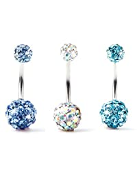 BODYA Lot of 3pc 14G Swarovski Crystal Double Gem Jeweled Belly Button Ring Bling Body Jewelry Piercing Ring 3 Pack