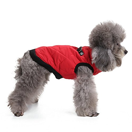 Vevins Dog Cold Weather Coat Vest Zipper Closure Cotton Padded Halloween Christmas Harness for Small Medium Dogs Pets Red Size S