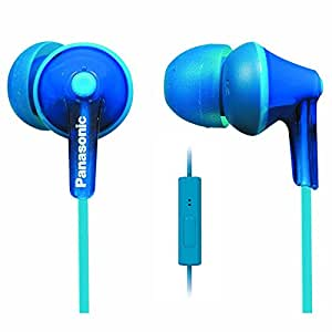 Panasonic ErgoFit Best in Class In-Ear Earbuds Headphones with Mic/Controller RP-TCM125-A (Blue) iPhone, Android Compatible, Noise Isolating Headphones