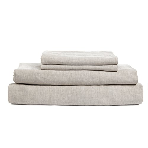 (DAPU Pure Stone Washed Linen Sheets Set 100% French Natural Linen European Flax (Queen, Natural Linen, Flat, Fitted and 2 Pillowcases)