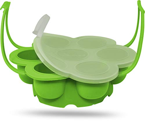 Salbree Egg Bite Mold for Instant Pot Accessories Silicone Instapot Steamer Molds Container for Eggs Meatloaf Vegetables Fits Insta Pot Cooker 5qt 6qt 8qt & Has Built-In Handles & Trivet (green) ()