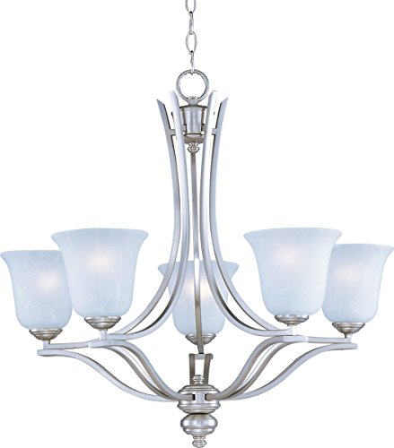 - Maxim 10175ICSS Madera 5-Light Chandelier, Satin Silver Finish, Ice Glass, MB Incandescent Incandescent Bulb , 60W Max., Dry Safety Rating, Standard Dimmable, Opal Glass Shade Material, Rated Lumens