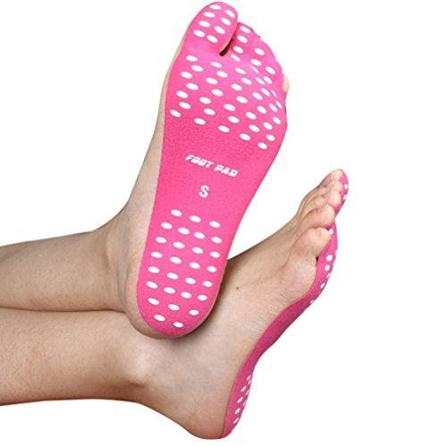 Cojines antideslizantes de la cautela de la playa, HARRYSTORE Pies pegajosos suaves del pie Pies Pegatina Pegamento en las zapatas Protección flexible de los pies Rosa caliente