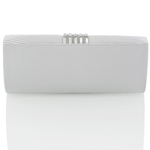 BAG White BRIDAL Satin CLUTCH LADIES CRYSTAL PROM BRIDAL WOMENS PARTY SATIN DIAMANTE EVENING ROxwqavPZ
