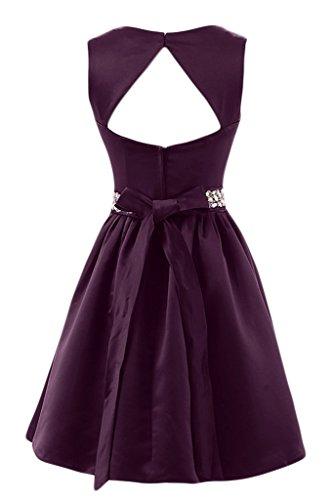 Sunvary Simple a-line V-neckline satén corto Party Fiesta Prom vestidos con un cinturón Chocolate