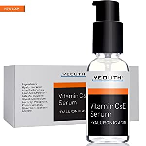 YEOUTH Vitamin C Serum For Day with Vitamin E and Hyaluronic Acid Serum, Anti Wrinkle, Fill Fine Lines, Evens Skin Tone, Fades Age Spots, Medical Grade Anti Aging Skin Care Products