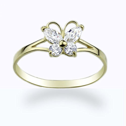 14K Gold Ring Yellow Gold CZ Butterfly Ring size 2 to - 14k Ring Butterfly