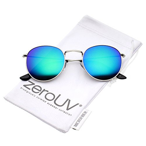 zeroUV - Retro Metal Frame Thin Temples Colored Mirror Lens Round Sunglasses 50mm (Silver / Green-Blue - 50mm Round