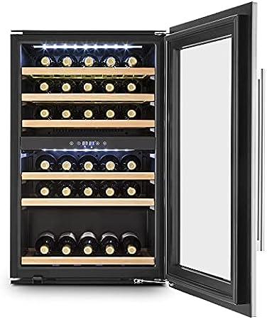 KLARSTEIN Vinsider 35D - Nevera para vinos, Nevera para Bebidas, 128 L, 41 Botellas, 6 Baldas, 2 Zonas, Empotrable, Puerta de Acero Inoxidable, Pantalla LCD, Luz Interior LED, Negro-Plata[Clase de eficiencia energética G]