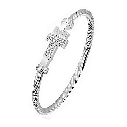 Twisted Cross Charm (MONJER Silver Plated Filigree 4MM Wide Cross Clasp Twristed Wrap Curb Cable Bracelet & Bangle Charms Jewelry for Women Girl)