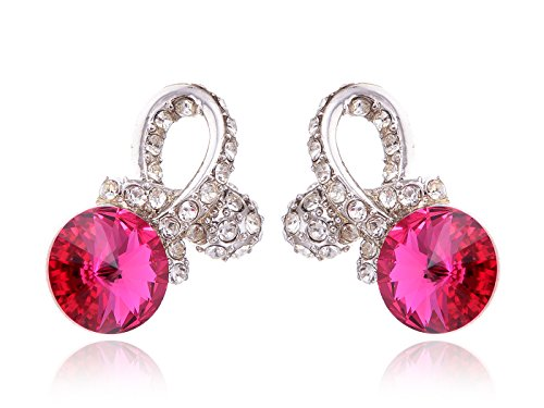 (Alilang Womens Swarovski Crystal Element Silver Tone Fuchsia Pink Colored Ribbon Bow Tie Stud Earrings)