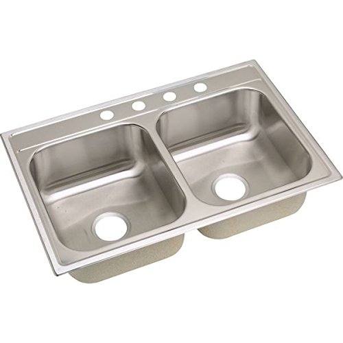20 Gauge Stainless Steel 33'' X 22'' X 8.25'' Double Bowl Top Mount Kitchen Sink