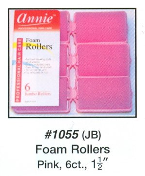 Rollers Large Foam - Annie Classic Foam Cushion Rollers #1055, 6 Count Pink Jumbo 1-1/2 Inch