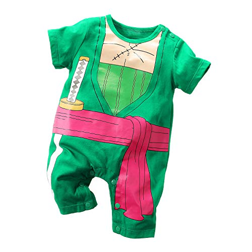 Yierying One Piece Roronoa Zoro Baby Clothes Cotton Onesie Anime Baby Rompers Green -