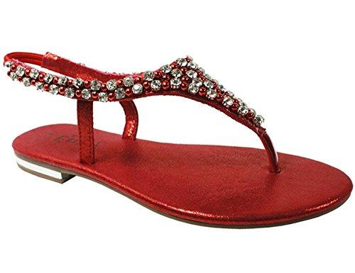 Røde Diamante Sko Feriehus Uformell Fest Women Sandaler 's Perle Tilbake Damene Flat Slynge qp4tHT7