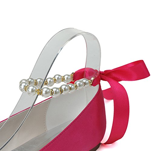 Sarahbridal Women Round Toe Shoes Bridal Wedding Flats Shoes With Bow SZXF9872 (4 UK - 8.5 UK) Silver-15A 4nPRWL