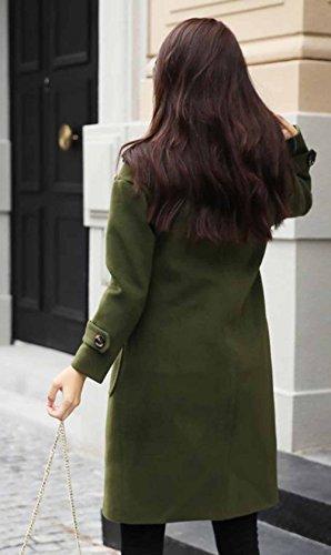 d02c8950a6ae0 MengFan レディース 冬 ロングコート おしゃれ コート 無地 シンプル ゆったり 韓国風 洋服ネック チェスターコート
