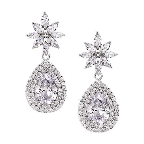SWEETV Teardrop Dangle Earrings for Wedding,Bridal,Pageant-Silver Cubic Zirconia Crystal Rhinestone Drop Earrings for Women Bride Bridesmaids-Silver by SWEETV