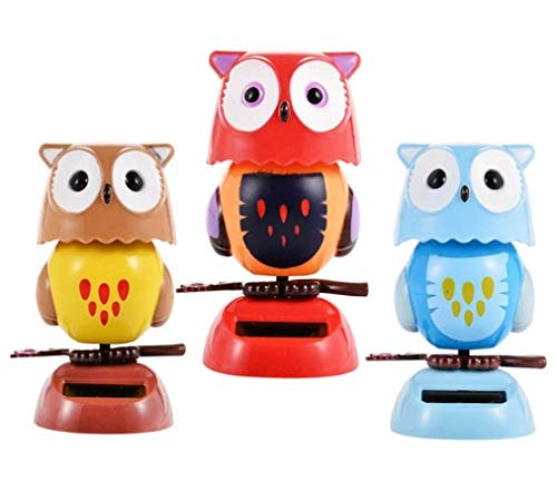 TiooDre Cute Solar Bobble Head Flip Flap Rabbit Owl Kids Toy Car Ornament Gift For Ornamental Car Festival