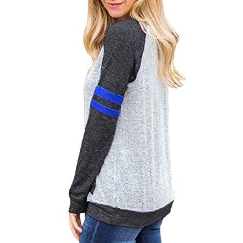 Sexyville Chemise de chemisier de poche à rayures à manches longues à encolure arrondie à manches longues pour femme