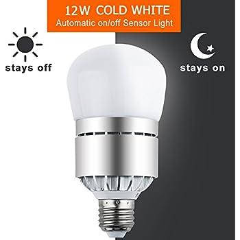 Sensor Lights Bulb Dusk to Dawn LED Light Bulbs Smart Lighting Lamp 12W E26/E27 Socket 6000k Automatic On&Off for Outdoor Yard, Porch, Patio, Garage, Garden Security Lighting (Cold White)