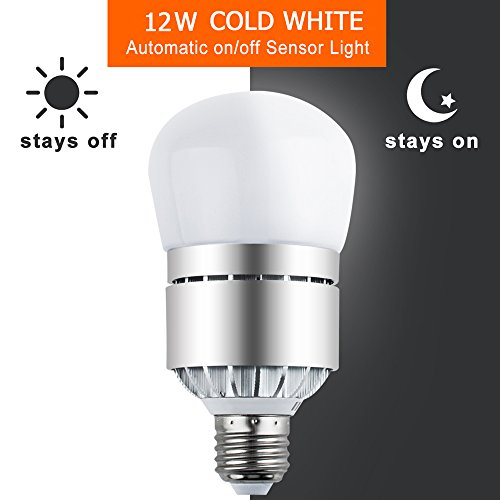 Sensor Lights Bulb Dusk to Dawn LED Light Bulbs Smart Lighting Lamp 12W E26/E27 Socket 6000k Automatic On&Off for Outdoor Yard, Porch, Patio, Garage, Garden Security Lighting (Cold White)
