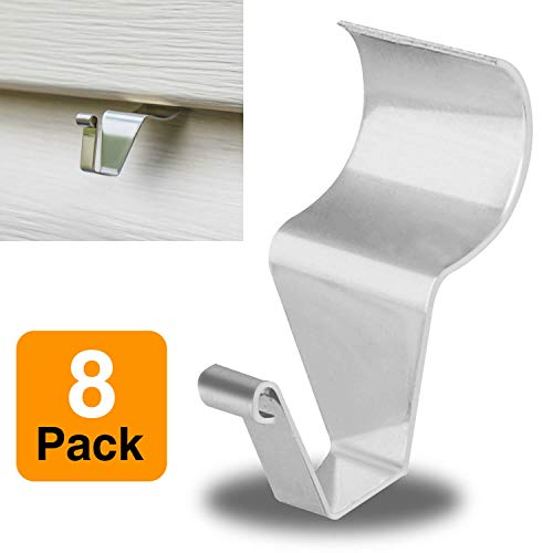 Vinyl Siding Hooks for Hanging, Heavy Duty Outdoor Decortations Siding Hanger, Metal No Hole Needed Vinyl Siding Clips (8 Pack)