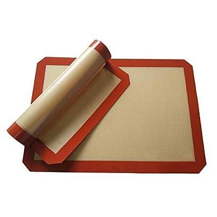 Alfombrilla para horno, antiadherente, de silicona y Rojo-Marrón
