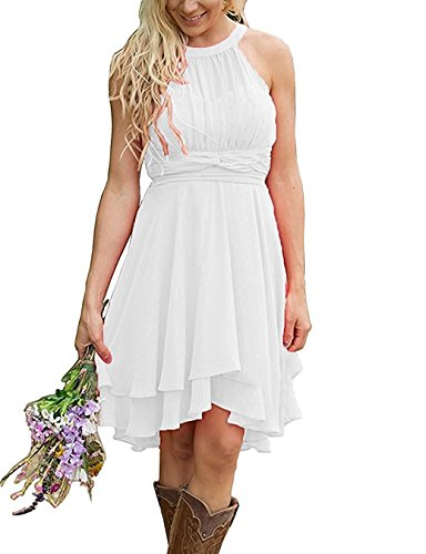 Faxpox Women's Knee Length Country Bridesmaid Dresses Western Wedding Guest Dresses Short Maid of Honor Gown Ivory US16