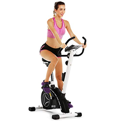 ANCHEER Upright Bike, Magnetic Resistance Exercise Bike for Cardio Workout Indoor Cycling (Black) Ancheer