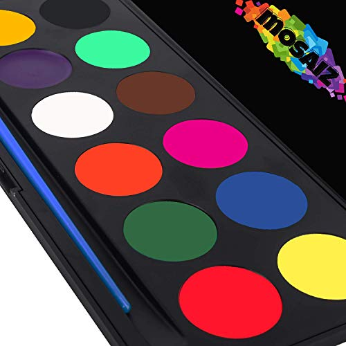 Face Painting Kit Non-Grease Face Paints Body Paint 12 Colors Face Paint Palette Kids Safe Facepaint Halloween Makeup Set Water-Based Facepaints Girls Makeover Costume Tactical Facepainting Supplies