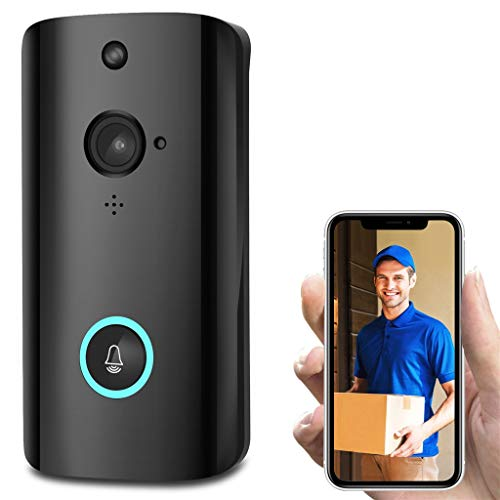 Liouhuble WiFi Security Doorbell, M9 1080P 166Field of Angle View Smart Video Phone Camera Night Vision Two-Way Talk with Two 18650 Specification Batteries Can Push Notifications Black
