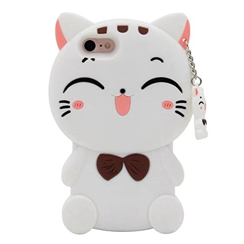 iphone 4 4s Cartoon Silicone Cover,Cute 3D Kitty Lucky Fortune Cat Design Phone Bag Soft Rubber Case for Apple iphone 4 4s ()