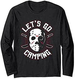 [Featured] Camping Scary Mask Horror Movie Novelty Let's Go Camping Long Sleeve in ALL styles | Size S - 5XL