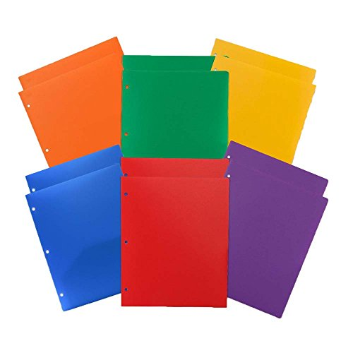 JAM Paper Plastic Heavy Duty 2 Pocket 3 Hole Punched Folders - 9 1/2