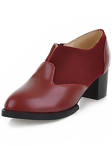 de y Robusto 2 2in Oficina 4in Tacones Casual 2in Trabajo Oxfords mujer Cerrada 2 3 Zapatos Punta Negro Cuero red red Tacón 4in ZQ Sintético Puntiagudos 3 BIU5Pxqfn